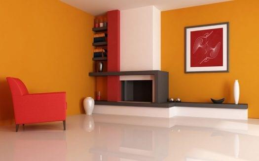 red-ornament-in-orange-house-interior