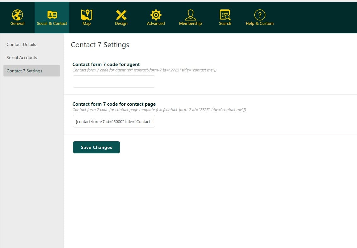 Contact Form 7 Settings U2013 Theme Admin Interface